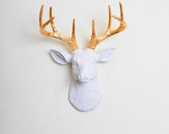 Mini Faux Taxidermy Deer, The MINI Alfred by White Faux Taxidermy - White and Gold Faux Deer Head Wall Mount