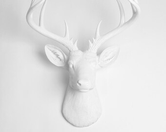 X Large Deer Head Wall Mount - The Templeton White Faux Deer Wall Mount - Resin Stag Animal Wall Decor & Ornament