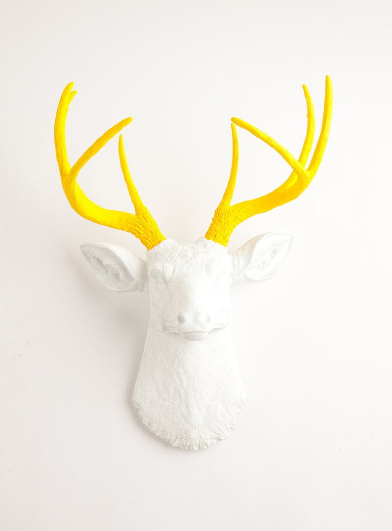 Faux Taxidermy - The Baron - White W/ Yellow Antlers Resin Deer Head - Stag  Resin by White Faux Taxidermy Animal Wall Ornaments & Home Decor