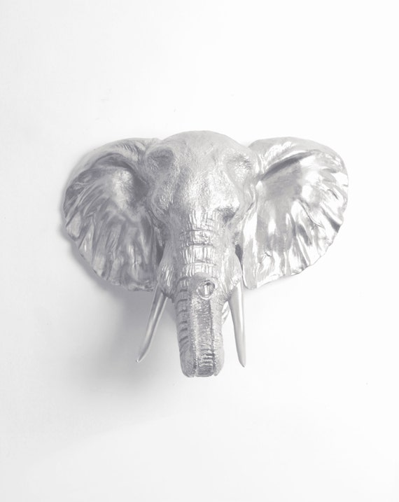 The Noori Silver Resin Elephant Head Wall Mount By White Etsy