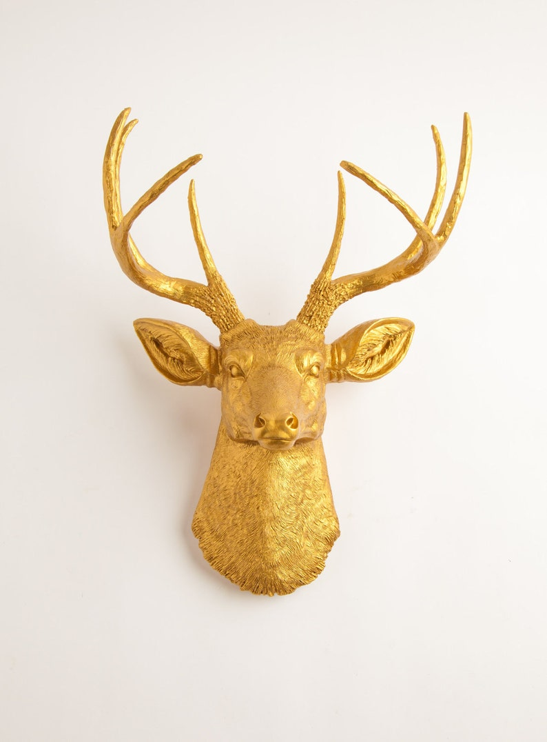 Deer Head Mount >> Gold Deer Head Mount By White Faux Taxidermy The Franklin Gold Resin Faux Deer Head Buck Head Faux Taxidermy Hanging Wall Decor Ornament