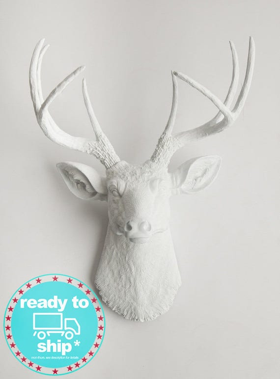 Quick Ship Faux Taxidermy Deer Head Wall Decor. From White   Etsy