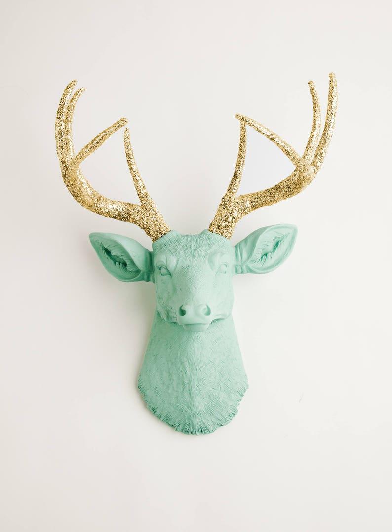 Faux Deer Head - The Arnie - Seafoam Green W/ Gold Glitter Antlers Resin  Deer Head- Stag Resin White Faux Taxidermy