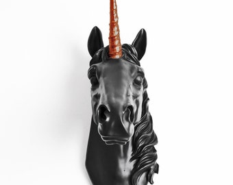 Unicorn Head Wall Mount, The Bayer Unicorn Head Black & Copper Horn, by White Faux Taxidermy Unicorn Head Mount, Taxidermy Unicorn Decor