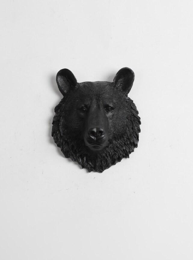 Mini Bear Head Wall Mount The Tippens Faux Bear Head Decor   Etsy