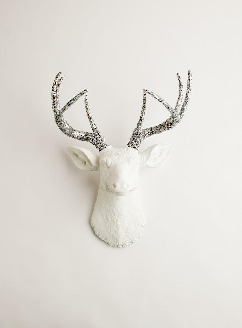 Deer Head Wall Decor Silver Glitter Antlers  deer wall image 0