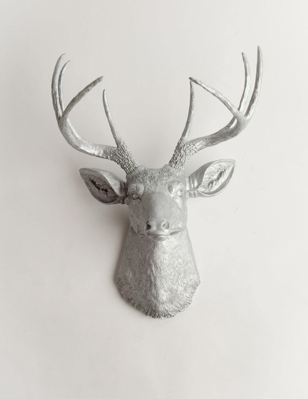 Silver Deer Head Wall Decor The Hesher Silver Resin Deer