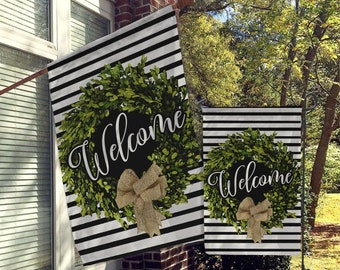 Welcome Flags, House Flags, Garden Flags, Porch Flags, Yard Flags,  Farmhouse Rustic Chic, Boxwood Burlap Wreath Home Outdoor Decor