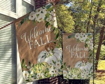 Welcome Flags, House Flags, Garden Flags, Porch Flags, Yard Flags,  Farmhouse Rustic Chic, Autumn, Fall, Thanksgiving Floral Pumpkins Design