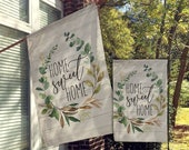 Welcome Flags, House Flags, Garden Flags, Porch Flags, Yard Flags, Farmhouse Rustic Chic, Succulent Wood Decor, Outdoor Decor