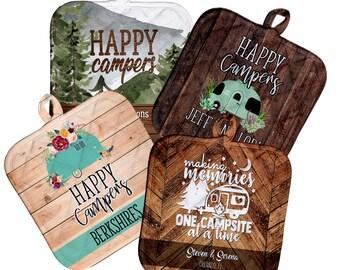 Camping Pot Holder, Happy Camper Hot Pad, Camper Decor, Custom Camping Gift, Custom Camper Kitchen Accessory, Cute Motohome Custom Decor