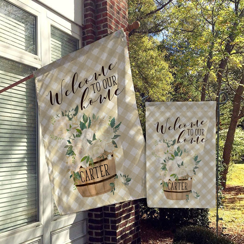 Personalized Garden Flags Custom Garden Flag Monogram Flag Personalized House Flags Harvest Farmhouse Decor Yard Decor Outdoor Decor