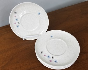 Set of 6 W. S. George Celeste Starburst Saucer Plates