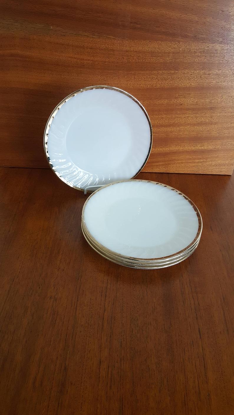 Set of 4 Anchor Hocking Fire King Milk Glass Dinner Plates