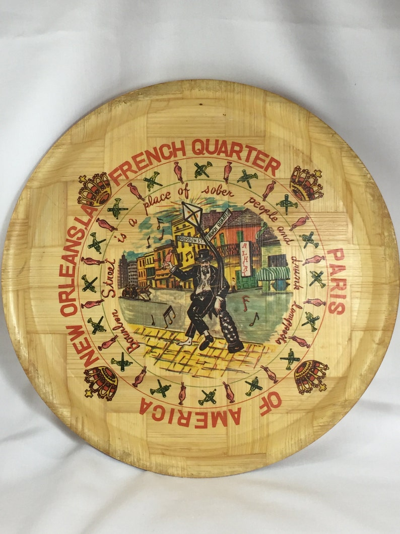 Tray New Orleans, Louisiana, French Quarter, Paris of America, Round Bamboo  Tray Serving Ware Barware Souvenir Mancave