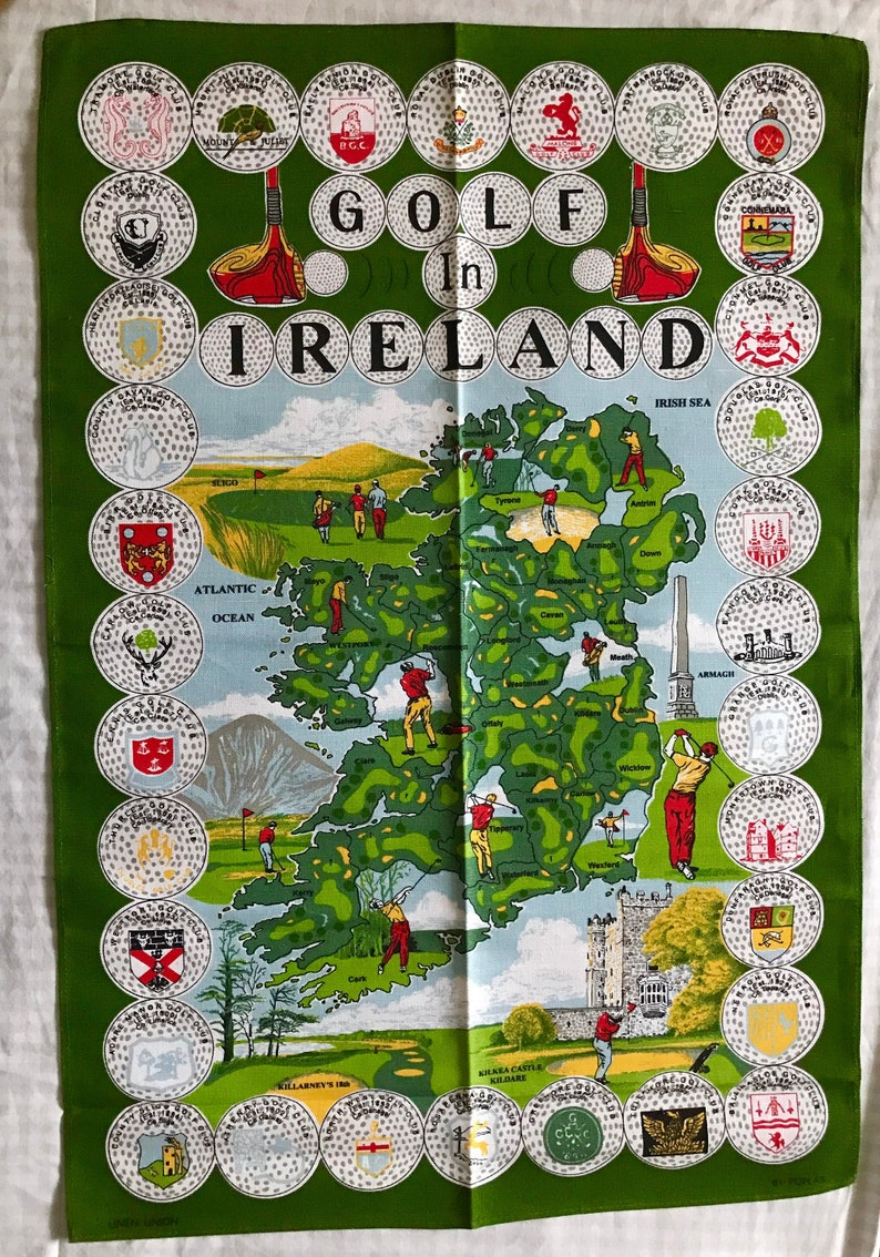 Golf Map Of Ireland.Tea Towel Map Of Ireland S Golf Courses Irish Linen Golfers Cotton Linen Union Poplar Kildare Armagh Wall Hanging Man Cave Tee Time Kitchen