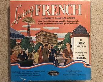 French language course Living French vintage record album set parler vous francais oui oui