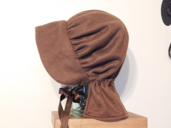 Amish Winter Bonnet, Brown Bonnet, Brown, Pioneer Bonnet, Wool Bonnet, Winter Hat, Head Covering, Woman Hat, Colonial Dress,Pioneer Trek,Hat by Etsy