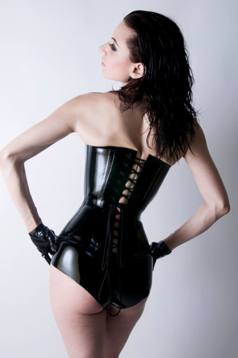 Latex Rubber Corset Overbust Plunge steel boned By VEX  d1c6aee33