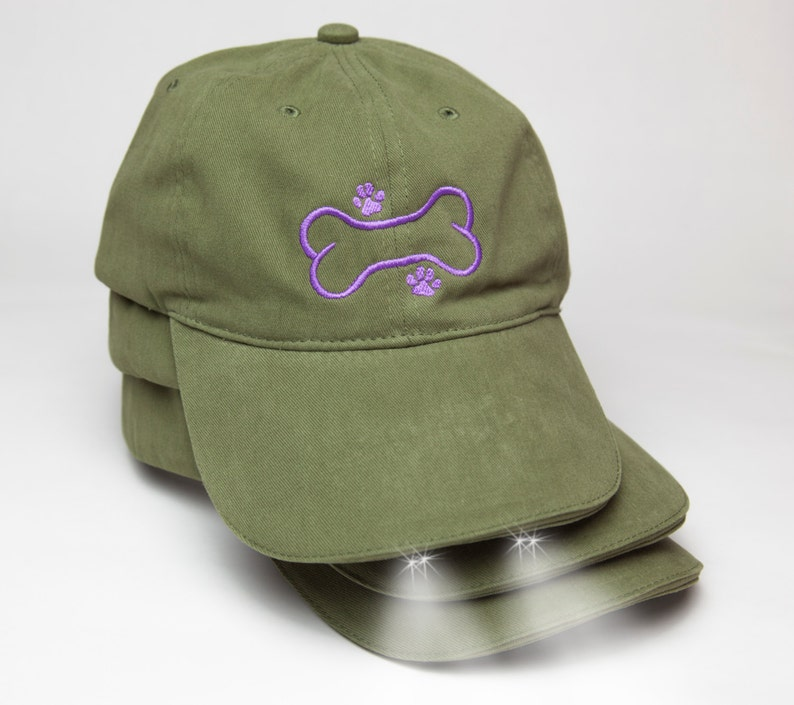 c7f08a89e0b45 Dog Walking Hat Olive baseball hat with LED lights under the