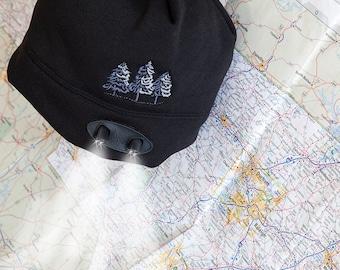 Black Beanie Flashlight Cap~ Snow Sledding~ Ice Skating~ Frosty Pine Trees~  Gift Him or Her~ Camping Gift for him~ Hiking Gift for him