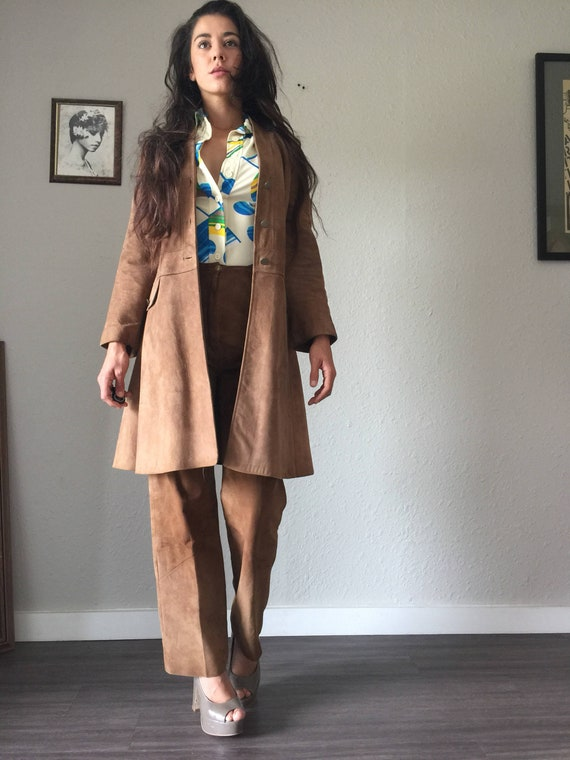 Vintage Taupe Suede Jacket and Pant Suit By Lady C
