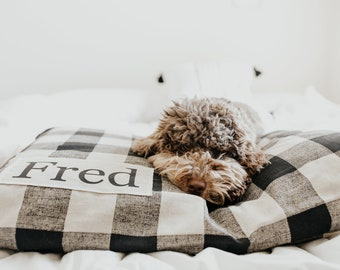 Plaid Dog Bed Cover - Dog Beds - Personalized Dog Bed - Custom Dog Bed - Pet Beds - Farmhouse Dog Bed Cover - ALL SIZES - Washable