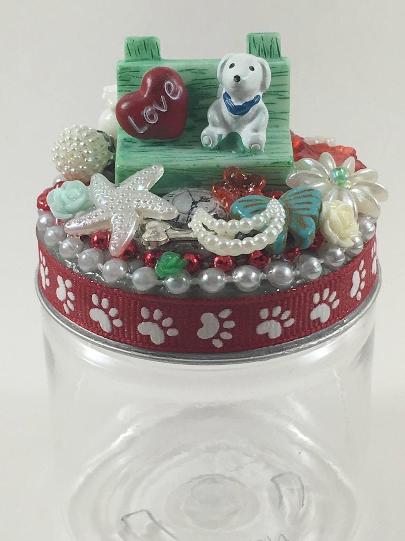 Assemblage Art Jar Puppy on a Bench