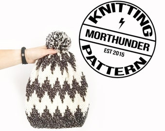 Macro Chevron Knitted Beanie Pattern by Morthunder
