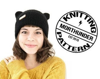 Simple and Cute Double Brim Knit Cat Hat Pattern
