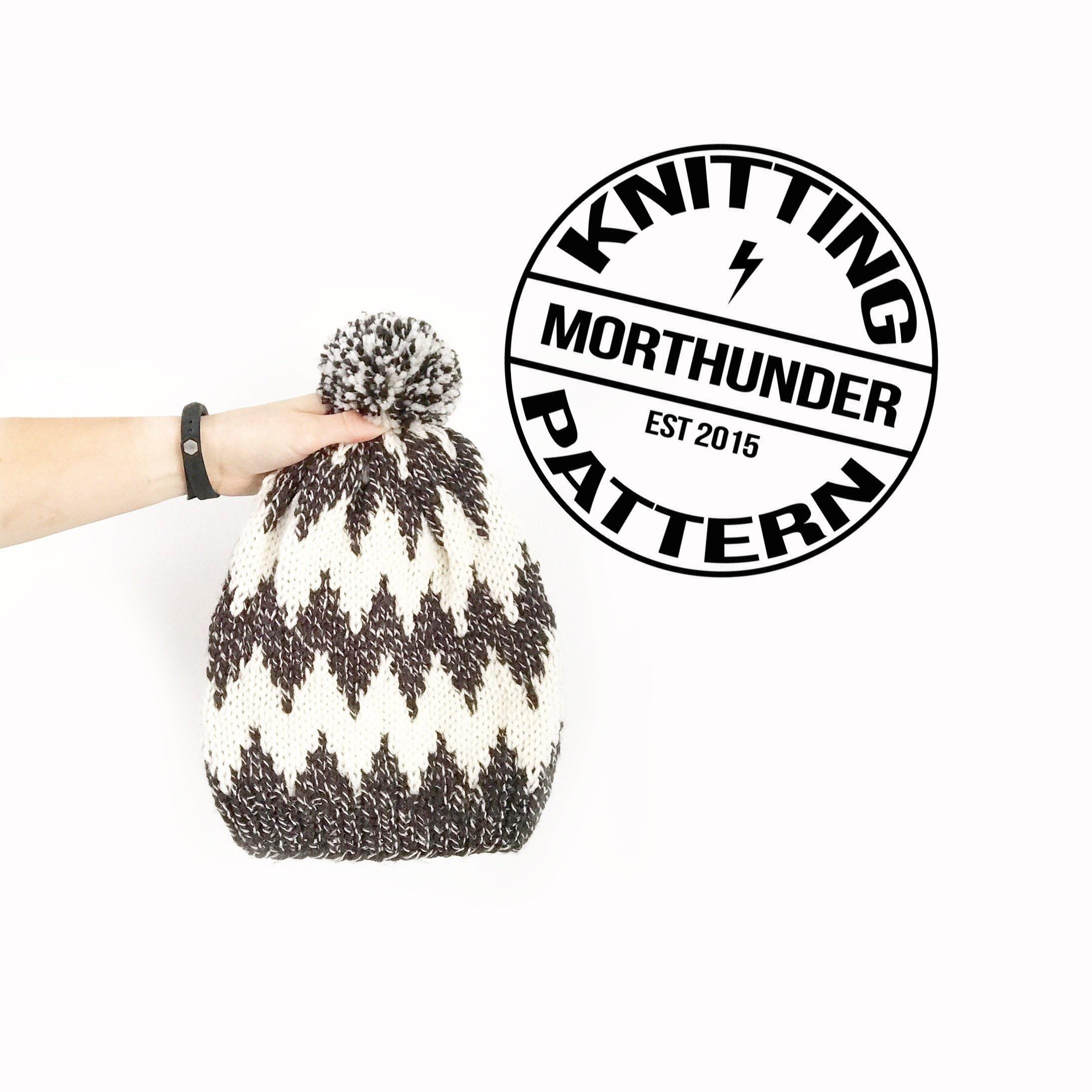 Macro Chevron Knitted Beanie Pattern By Morthunder Etsy