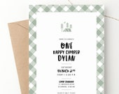One Happy Camper Birthday Invitation Camping Tent Buffalo Plaid Gingham Kids Outdoor Party Camp Theme Smores Boys Or Girls 1st
