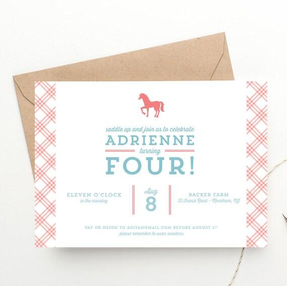 Pony Party Children S Birthday Invitation Free Shipping Horse