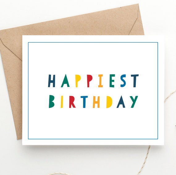 Instant Download Happy Birthday Card Kids Bday Printable File Happiest Boys Girls Print At Home Postcard