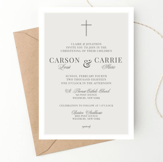 twins baptism christening invite classic announcement baby