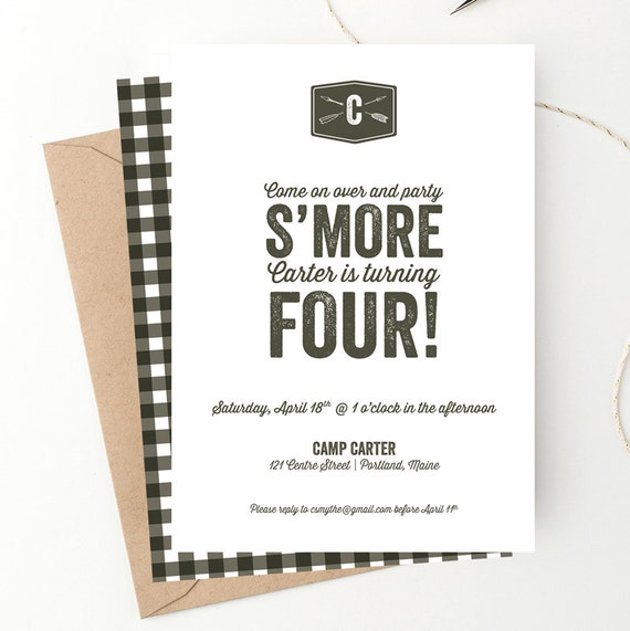 S Mores Camping Birthday Party Invitation Free Shipping Woodland