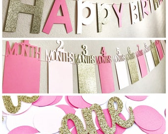 First Birthday Decorations Photo Banner Pink Gold Party In A Box Bunting