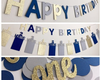 First Birthday Decorations Boy Photo Banner Gold Navy Party In A Box Bunting