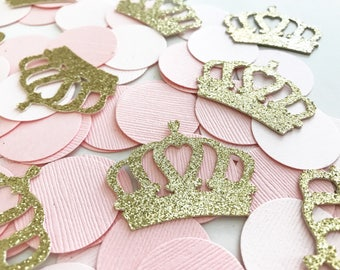 Princess theme party decorations, princess party decor, Princess Crown Confetti, Pink & Gold party decorations, Princess themed confetti