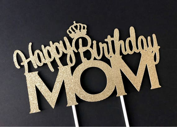 Terrific Happy Birthday Mom Cake Topper Birthday Cake Topper Mom Mom Etsy Personalised Birthday Cards Veneteletsinfo