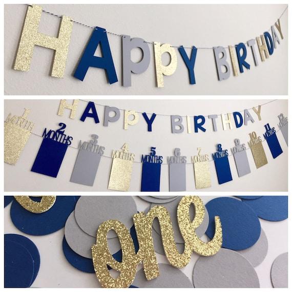 First Birthday Decorations Boy Photo Banner
