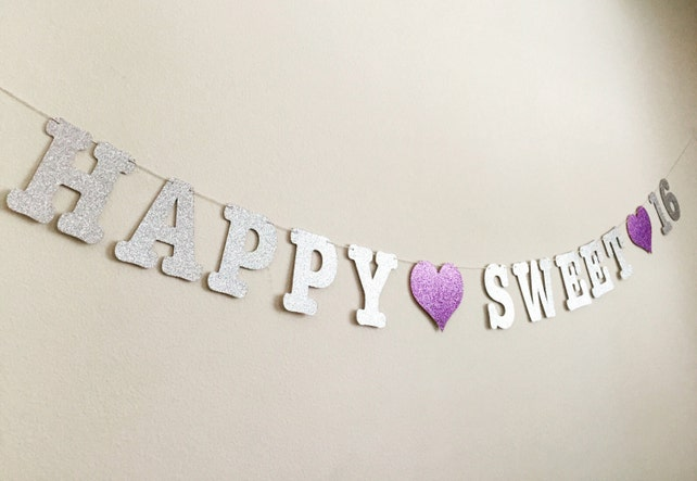 Sweet 16 Party Decorations Banner 16th Birthday Happy