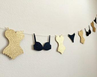 Lingerie Garland, Bachelorette Party Banner, Lingerie Banner, Lingerie Party Decoration, Lingerie Bunting, Bridal Shower Bunting