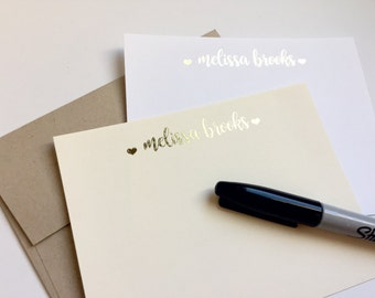 Personalized Notecards, Personalized Stationary, Gold Note Cards, Personalized Foil Note Cards, Personalized Thank you cards, Custom No