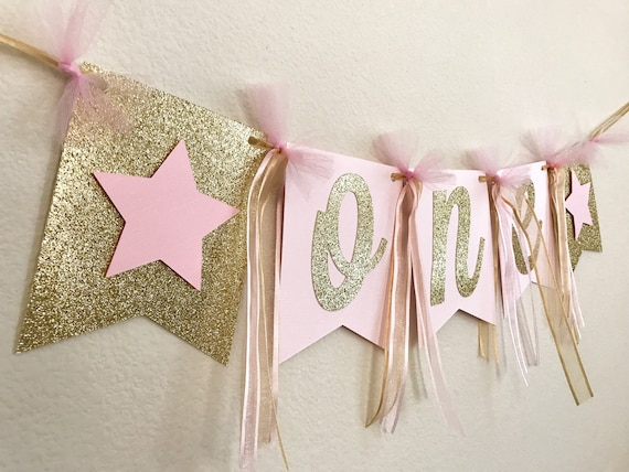 pink gold high chair banner one high chair banner first etsy