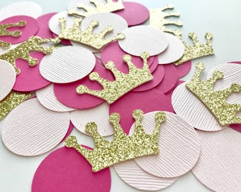 Princess Confetti, Gold Crown Confetti, Pink & Gold confetti, Princess themed confetti, princess party decorations
