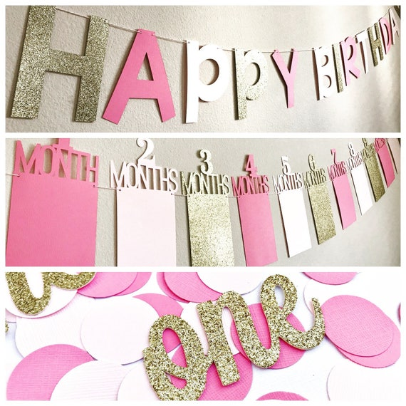 Pink Gold Birthday Decorations First Party