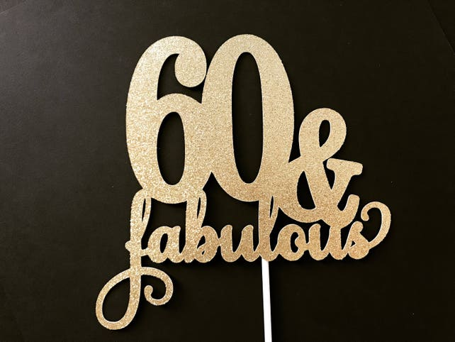 60th Birthday Cake Toppers Decorations Topper60th Party Decor