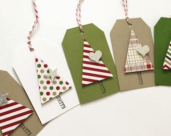 Christmas Gift Tags - Christmas Tree - dimensional sparkle gift tags - gift tags - 10 tags