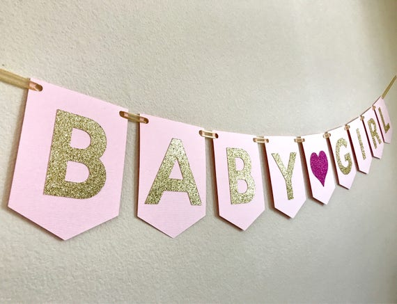 Pink Gold Baby Shower Banner Girl Baby Shower Banner Baby Etsy